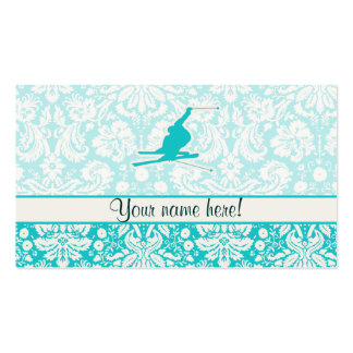 Teal Snow Skiing Double-Sided Standard Business Cards (Pack Of 100)