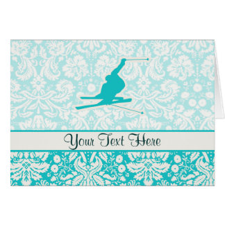 Teal Snow Skiing Card