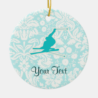 Teal Snow Skiing Ceramic Ornament
