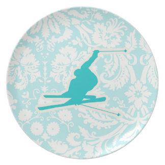 Teal Snow Skiing Dinner Plate