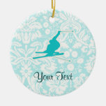 Teal Snow Skiing Double-Sided Ceramic Round Christmas Ornament