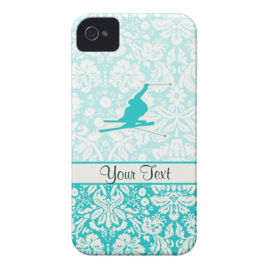 Teal Snow Skiing iPhone 4 Cover