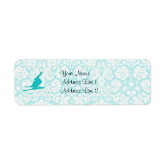 Teal Snow Skiing Label