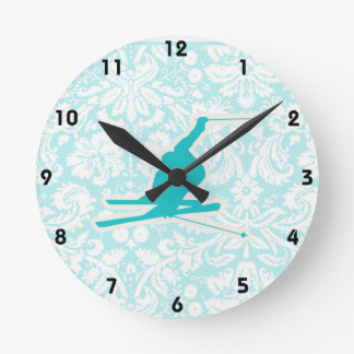 Teal Snow Skiing Round Clock