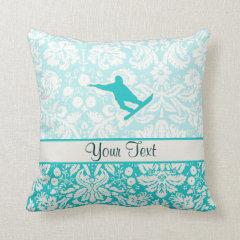 Teal Snowboarding Throw Pillows