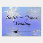 Teal Snowflake Bracket Wedding Direction Sign