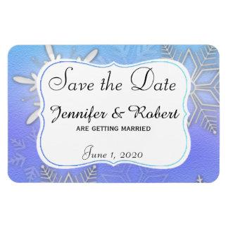 Teal Snowflake Bracket Wedding Save the Date Rectangular Photo Magnet