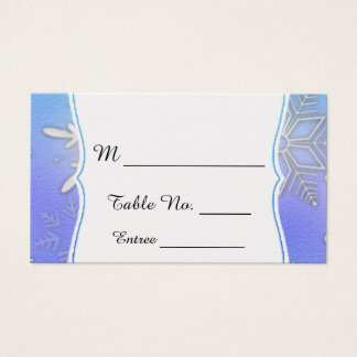 Teal Snowflake Bracket winter Wedding Place Cards