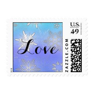 Teal Snowflake Bracket Winter Wedding Stamp