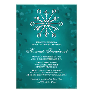 TEAL SNOWFLAKE BRIDAL SHOWER PERSONALIZED INVITATIONS