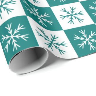 Teal Snowflake Checkered Pattern Christmas Holiday Wrapping Paper
