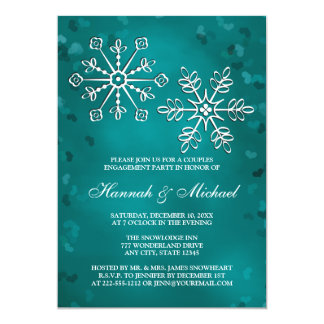 TEAL SNOWFLAKE COUPLES ENGAGEMENT PARTY 5X7 PAPER INVITATION CARD