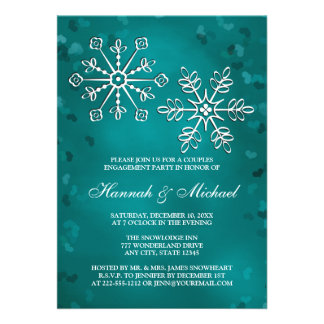 TEAL SNOWFLAKE COUPLES ENGAGEMENT PARTY PERSONALIZED ANNOUNCEMENT