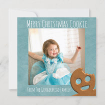 Teal Snowflake Happy Gingerbread Square Photo Holiday Card