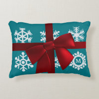 Teal Snowflake Monogram Red Christmas Bow Accent Decorative Pillow