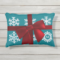 Teal Snowflake Monogram Red Christmas Bow Accent Outdoor Pillow