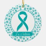 Teal Snowflake Ovarian Cancer Ornament