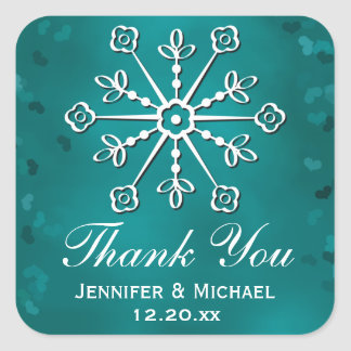 Teal Snowflake Thank You Label