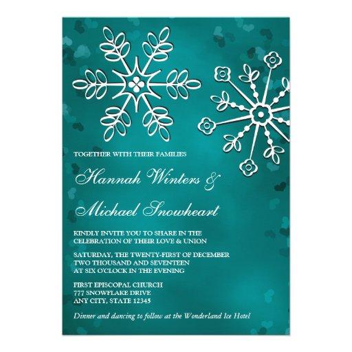 Teal Snowflake Wedding Invitations | Zazzle