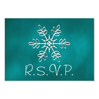 Teal Snowflake Wedding RSVP Response Card