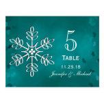 Teal Snowflake Wedding Table Number Cards