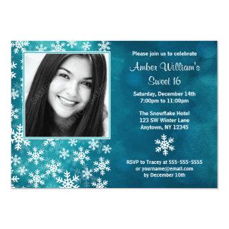 Teal Snowflakes Photo Sweet 16 Invitations