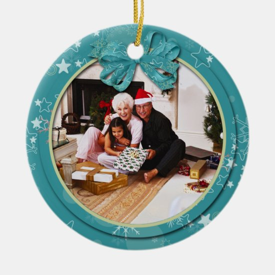 Teal Snowflakes Stars Family Photo Christmas Ceramic Ornament