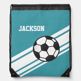 Teal Soccer Stripes Drawstring Backpacks