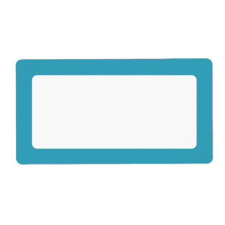 Teal solid color border blank label
