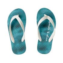 Teal Sparkle Mermaid personalized Kid's Flip Flops