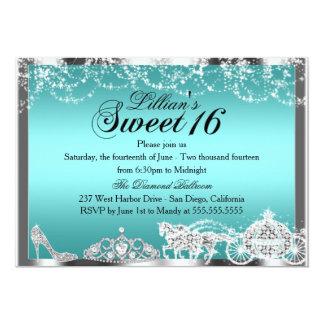 Teal Sparkle Princess Theme Sweet 16 Invite