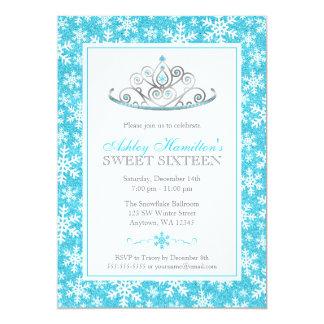 Teal Sparkle Princess Winter Wonderland Sweet 16 Card