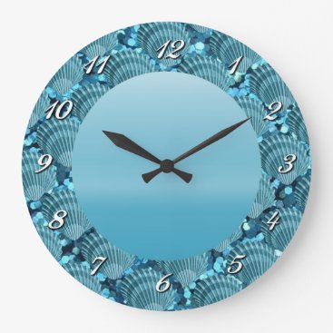 Beach Themed Teal Sparkle Seashell Round Wall Clock