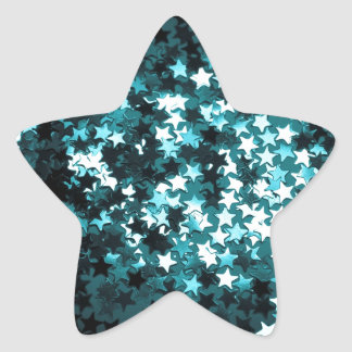 Teal Sparkly Stars Stickers