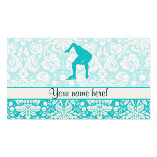 Teal Speed Skater Business Card