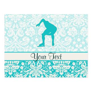 Teal Speed Skater Postcard