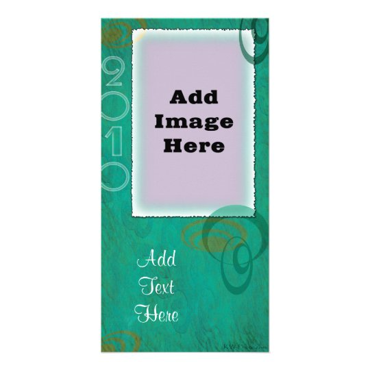 Teal Spirals V Custom Photo Cards