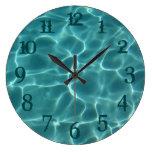 Teal Splash Numbers Swimming Pool Wall Clock