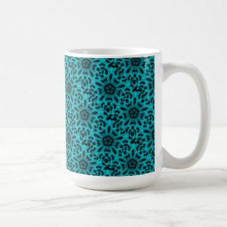 Teal Spotted Leopard Flower Kaleidoscope Coffee Mug