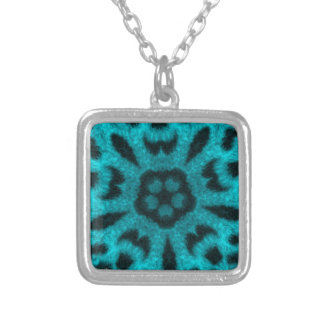 Teal Spotted Leopard Flower Kaleidoscope Custom Necklace