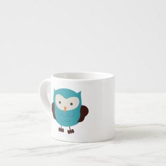 Teal Spring Owl Espresso Mug