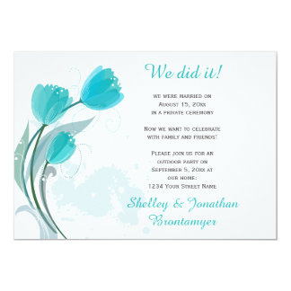 Teal Spring Watercolor Tulips Reception Only Card