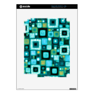 Teal Squares Pattern Decal For iPad 2