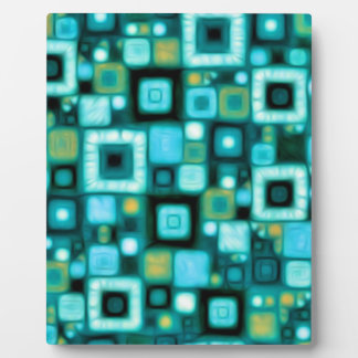 Teal Squares Pattern Plaque