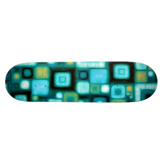 Teal Squares Pattern Skateboard Deck