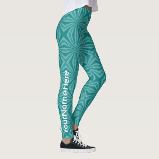 Teal Squiggly Squares and Name Leggings