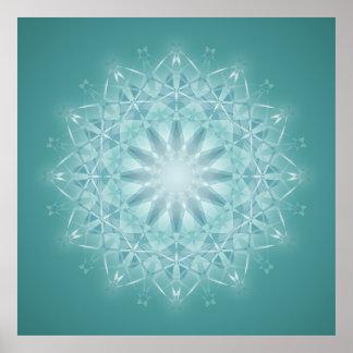 Teal Star Mandala Abstract Poster