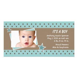 Teal Star Photo Birth Announcement
