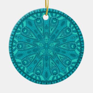 Teal Starburst Design Ceramic Ornament