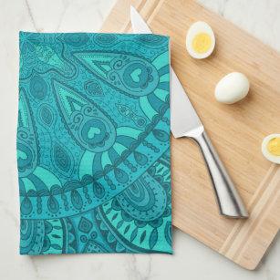 Teal Starburst Design Kitchen Towel